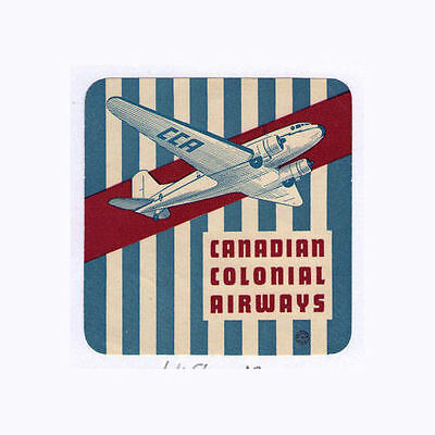 Airline luggage label old Canada Colonial #648