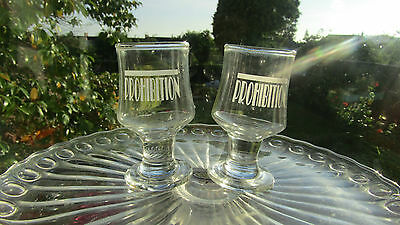 ACID ETCHED PRE-PROHIBITION WHISKEY ADVERTISING GLASSes x 2 Americana Old