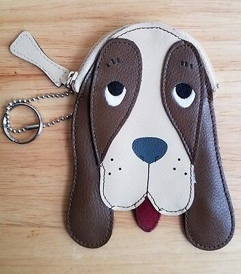 Basset Hound Dog Leather Coin Purse / Key Chain by Rolfs