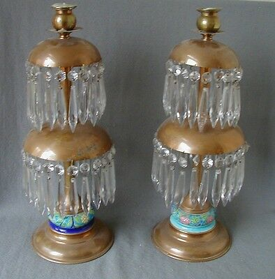 "Unusual Antique Longwy Pottery & Brass 17 1/2"" Candlesticks With Crystal Prisms"