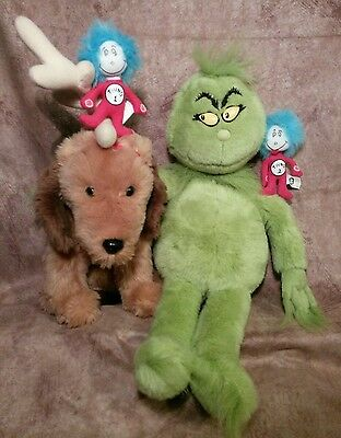 Dr Seuss Plush stuffed doll toy lot Grinch Max moving ears Dog Thing 1 & 2 toys