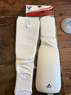Rucanor Shin and Instep pads pair white large RRP £14