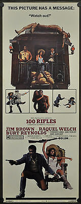 100 Rifles 1969 Original Movie Poster 14X36 Jim Brown Raquel Welch Burt Reynolds