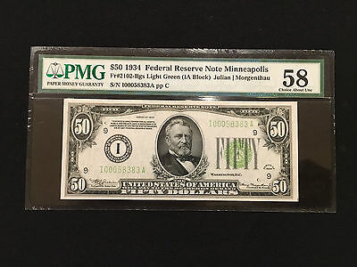 1934 FR-2102-iLGS $50 FRN MINNEAPOLIS PMG 58...VERY ATTRACTIVE NOTE