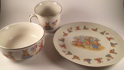 Vintage Mount Clemens Pottery Child's Feeding Dishes Lil Bunny 3 pc. Set