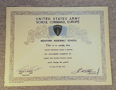 1961 US Army School Command Europe Weapons Assembly School Diploma Certificate