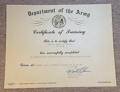 1962 Dept US Army Explosive Ordnance Reconnaissance Diploma Certificate Germany