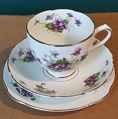 Nice Duchess Bone China Cup, Saucer, Side Plate Trio - Violets #1