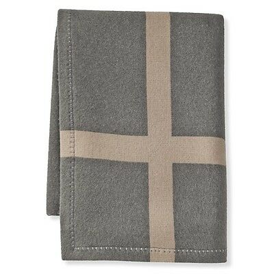 WILLIAMS SONOMA HOME Cashmere & Wool Equestrian Throw Blanket NEW - Gray