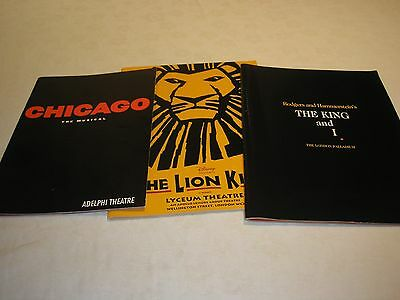 3 Theatre Programmes London The King & I, Chicago & The Lion King 2000 & 2001