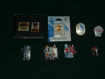 Lot of 8 Olympic Pins 2010 1996 1994 1992 1988 Sports Illustrated