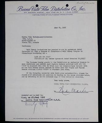 Walt Disney Vice President NED CLARKE Signed 1956 Contract Lady And The Tramp WD