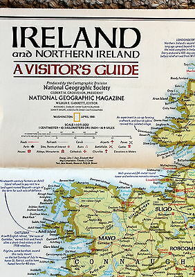 Ireland & Northern Ireland / Historic National Geographic Map / Poster Apr 1984