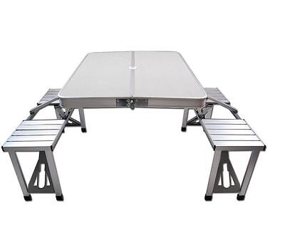 Folding Chairs And Table Set 4 Person Aluminium Portable Picnic Camping Outdoor