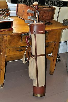5 Antique Wright & Ditson Berwych Wood Hickory Shaft Golf Clubs & Canvas Bag