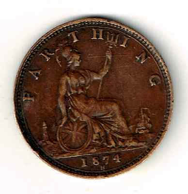 Liquidation! 1874H (Colon after D) UK Farthing