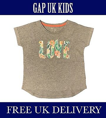Bnwt Gap Kids Uk Girls Heather Grey T-Shirt Clp. Uk Seller. Free Delivery