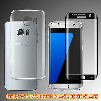 Gel Case + Curved Tempered Glass Screen Protector Samsung S6 Edge PLUS -BLACK