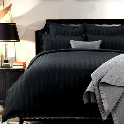 1200TC Cotton Black Quilt Cover Set QUEEN KING SUPER KING EURO Doona Duvet Set