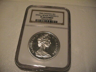 1965 Ngc Canada Pl-64 Cameo Small Beads Pointed 5 80% Silver Dollar ~Nice Coin~