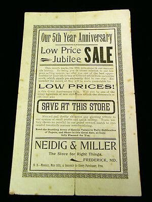 1914 Frederick Md Neidig & Miller 5th Anniversary Advertising Sale Flyer 10 x6