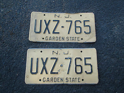 1960s New Jersey License Plates Matched Pair Nice Original Paint Plate