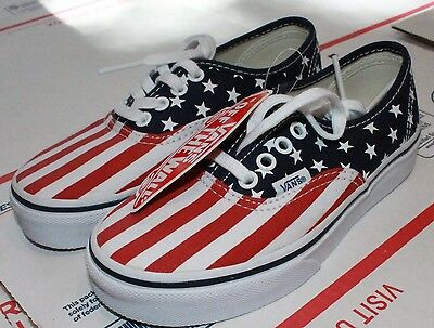 New VANS Boys USA SHOES YOUTH SIZE 13 Kids American FLAG RED WHITE BLUE