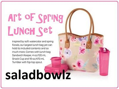 TUPPERWARE ART OF SPRING LUNCH SET Sandwich Keeper, Snack Cup & Tumbler fREEsHIP
