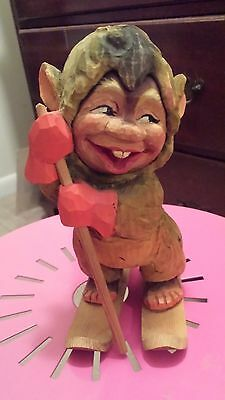 "Vintage Norway Hand Carved Wooden Gnome on Ski's 8"" Figurine"