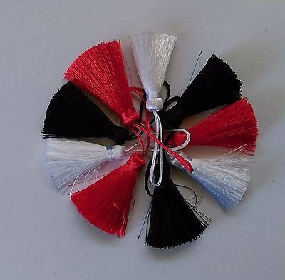 3 x Silky Tassels ~ 40mm Length ~ Red White or Black