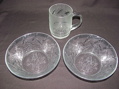 Set of 2 Clear Glass Coca Cola Bowls and 1 Mug with Embossed Coke Bottles