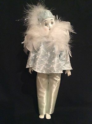 The Broadway Collection Porcelain Doll Clown W/Hand Painted Face W/Stand
