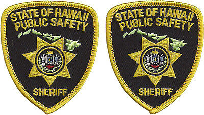 """Hat Size Hawaii Public Safety Sheriff Patches - Pair - 3"""" tall by 2 5/8"""" wide"""