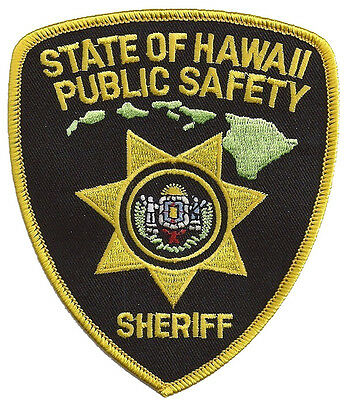 """State Of Hawaii Public Safety Sheriff Shoulder Patch 4 1/2"""" T x 3 7/8"""" W - NEW"""