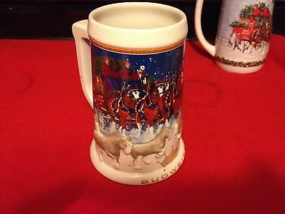 Budweiser Holiday Beer Stein 2005 Horses Christmas Clydesdale CS628 by Ceramarte