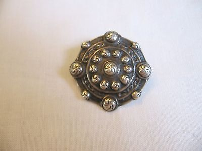 Alexander Ritchie Shield Brooch Pin Vintage 1930's Sterling Celtic Iona Scotland