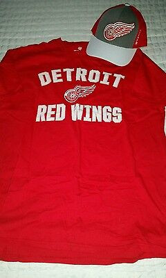 Detroit red wings hat cap and shirt l