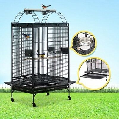 NEW Gray Lacework Pet Bird Cage for Medium to Large Size Parrots, Castor Wheels