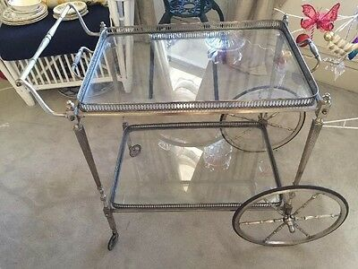 Mid Century Drinks Trolley Tea Trolley Glass Brass French Beautiful