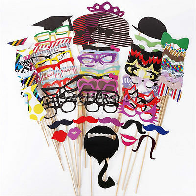 New DIY 76pcs Photo Booth Props Mustache on A Stick Weddings Birthday Party UK