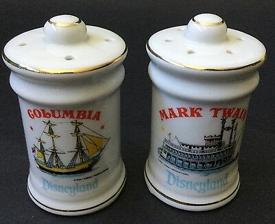 Disneyland Mark Twain And  Columbia Ships Salt + Pepper Set Disney Collectible