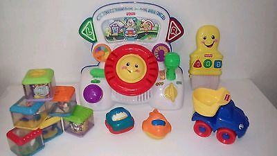 Fisher Price Toys Laugh n Learn Driving Dashboard Paint Brush Peek-a-boo blocks