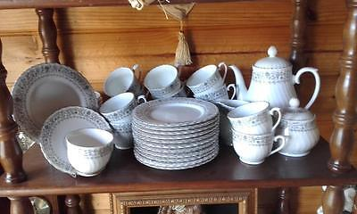 Beautiful Vintage White Grey Silver Porcelain High Tea Set Service Made In China