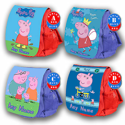 PEPPA PIG Personalised Childrens Backpack Rucksack Nursery School Bag Kids New