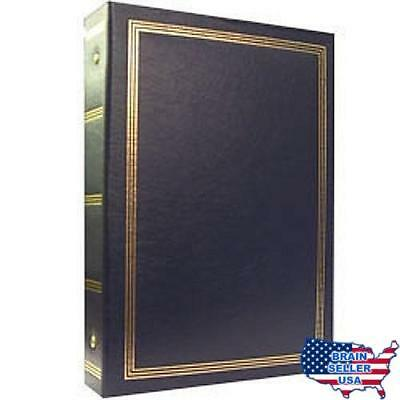 3-ring 2-up slip-in pocket NAVY-BLUE binder album for 400 photos - 4x6, No Tax,