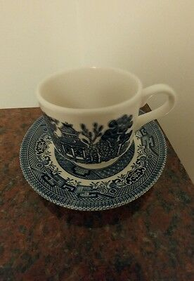 Churchill blue willow Cup & Saucer Made in England. Blue and white NWT