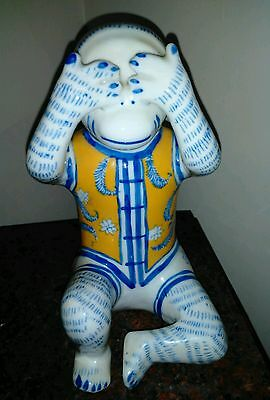 Chinese Monkey Proclain Figurine, See No Evil Height 8 inches Blue yellow, white