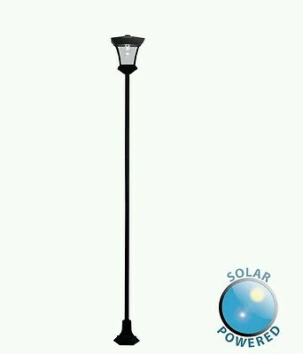 Solar Powered  Black Outdoor Garden LED Lamp Post Lamppost Lantern Lights