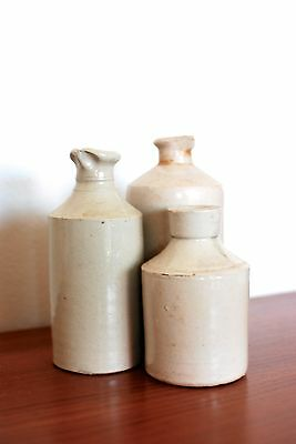 Set of 3 Vintage Inkwells/Ink Pots/Bottle, Stoneware/Pottery/Vases