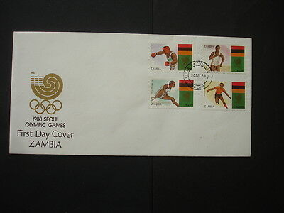 Ziambia : 1988 Olympic Games : Pictorial FDC